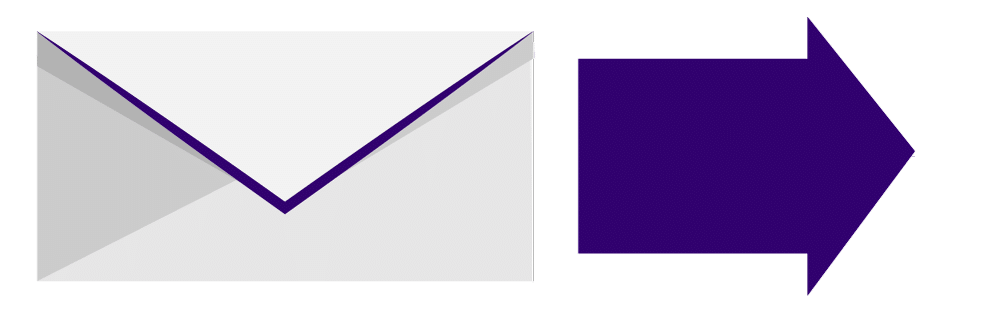 A envelope with a purple arrow pointing to the right.
