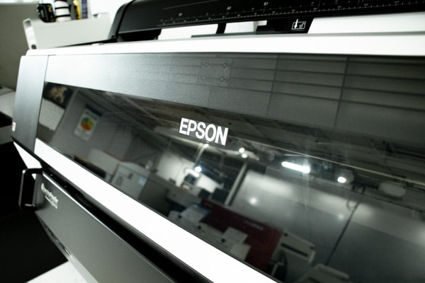 A closeup of an Epson printer.